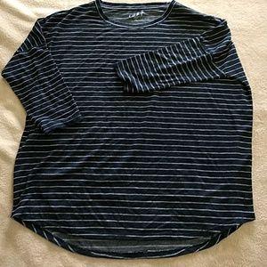 3/4 sleeve striped dolman shirt